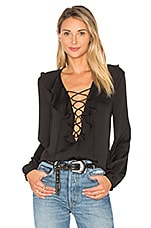 L'Academie The Ruffle Boho Blouse in Black