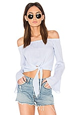 L'Academie The Tie Front Off Shoulder Blouse in Blue Pinstripe