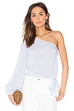 L'Academie The Romantic Sleeve One Shoulder Blouse in Blue Pinstripe