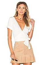 L'Academie The Short Sleeve Wrap Blouse in Ivory