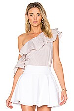 L'Academie x REVOLVE The Asymmetric Ruffle Blouse in Beige Stripe