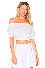 x REVOLVE The Ruffle Crop Top in White
