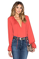 L'Academie The Boho Blouse in Red Orange