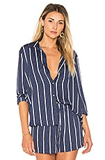 L'Academie The Classic Button Up in Navy Dot Stripe