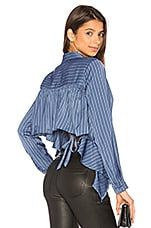 L'Academie The Simone Blouse in Azure Pinstripe
