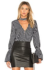 L'Academie The Felix Blouse in Black Striped