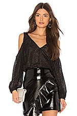 L'Academie The V Neck Shoulder Top in Black Fringe