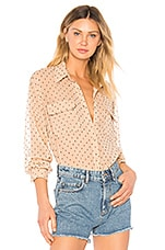 L'Academie Madeline Button Up in Nude Dot