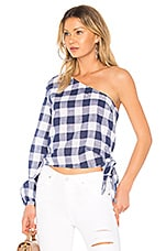L'Academie The Romantic Sleeve One Shoulder in Navy Gingham