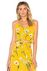 L'Academie The Salta Top in Yellow Meadow Floral