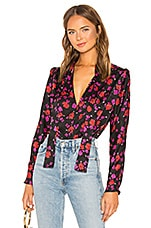 L'Academie The Julia Blouse in Black & Red Floral