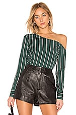 L'Academie The Catherine Blouse in Kelly Green Stripe