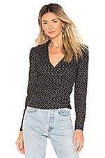 L'Academie The Elaine Blouse in Black Mini Dot