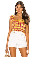 L'Academie The Laci Top in Yellow Plaid