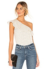 L'Academie The Cecile Top in White & Black stripe