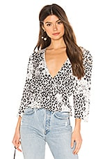 L'Academie The Dahlia Blouse in Black Leopard
