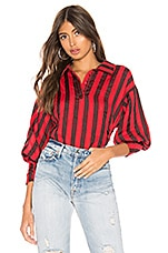 L'Academie The Marion Blouse in Red & Black