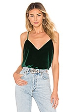 L'Academie The V Neck Cami in Emerald Green