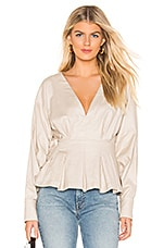 L'Academie The Lorene Blouse in Oatmeal
