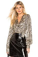 L'Academie The Alisha Blouse in Black & Tan Tiger