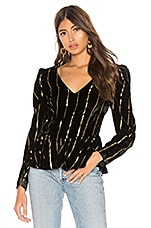 L'Academie The Jackie Blouse in Black & Gold Stripe