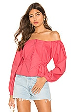 L'Academie The Millie Blouse in Calypso Coral