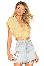 L'Academie Jasmine Top in Pale Yellow Stripe