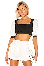 L'Academie The Gillian Top in White & Black