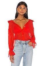L'Academie The Paulette Blouse in Poppy Red