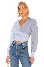 L'Academie The Doreen Top in Blue & White
