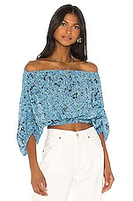 L'Academie The Lorie Top in Blue Floral