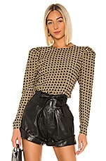 L'Academie The Eleonora Blouse in Black Basket Weave