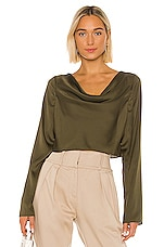 L'Academie The Florina Top in Olive Green
