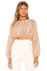 L'Academie The Riva Crop Top in Wheat Brown