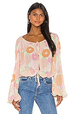 L'Academie The Alayna Top in Peach Floral