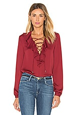 L'Academie The Ruffle Boho Blouse in Cabernet