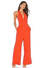 Line & Dot Tahiti Jumpsuit in Coral