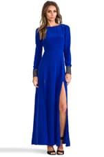Line & Dot Deep Slit Maxi Dress in Cobalt Blue