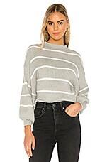 Line & Dot Alder Stripe Sweater in Heather Grey & Ivory