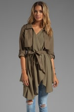 Line & Dot Flowy Trench Coal in Olive