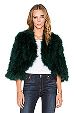 Line & Dot Boheme Marabou Feather Jacket in Pine