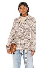 Line & Dot Check Waist Tie Blazer in Camel, Black & Wine
