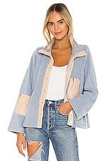 Line & Dot Calli Contrast Fleece Jacket in Dusty Blue