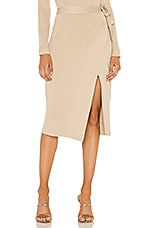Line & Dot Alyssa Sweater Set Wrap Skirt in Taupe