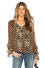 Line & Dot Effie Tied Top in Leopard