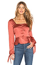 Line & Dot Dawn Blouse in Rust