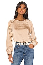 Line & Dot Satin Top in Toffee
