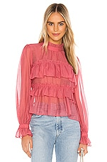 Line & Dot Floresta Ruffle Tier Top in Ruby
