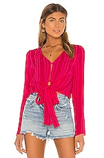 Line & Dot Briana Tie Detail Top in Fuchsia