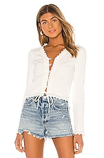 Line & Dot Arcadia Lace Trim Top in White